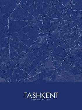 Tashkent, Uzbekistan Blue Map