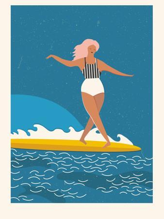 Retro Surfer Girl on a Longboard Riding a Wave by Tasiania