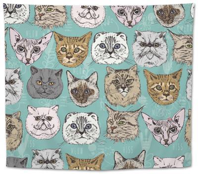 Seamless Pattern with Cats by Tatsiana Tsyhanova