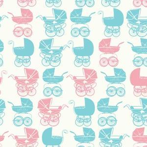 Seamless Pattern with Vintage Buggy on Light. Baby Shower Party by Tatsiana Tsyhanova