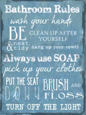 Bathroom Rules Blue by Taylor Greene