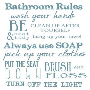 Bathroom Rules White by Taylor Greene