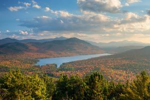 Taylor Pond seen from Silver Mountain, Adirondack Mountains State Park, New York State, USA