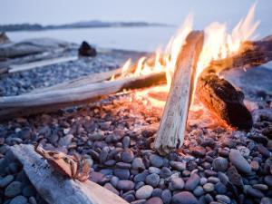 Campfire Burns on a Beach by Taylor S. Kennedy