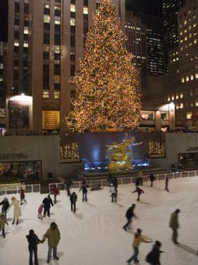 Rockefeller Center and the Famous Christmas Tree,Rink and Decoration, New York City, New York by Taylor S. Kennedy