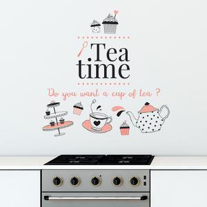 Tea Time English Quote Self-adhesive Decoration