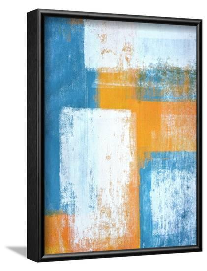 Teal And Orange Abstract Art Painting-T30Gallery-Framed Art Print