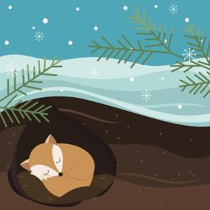Let it Snow. Fox Sleeping in a Hole. Holiday Background. Christmas Vector. by Teamarwen