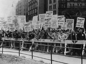 Teamster Union Signs Supporting Higher Pay and Pensions in NYC, 1954