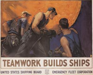 Teamwork Builds Ships Vintage Ad Art Print Poster