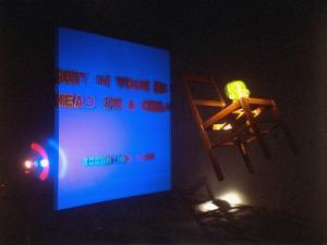 """Bruce Nauman's Installation """"Shit in Your Hat,"""" from MOMA Retrospective by Ted Thai"""
