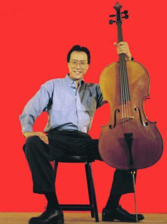 Classical Cellist Yo-Yo Ma Sitting with Cello in Smiling, Full Length Portrait