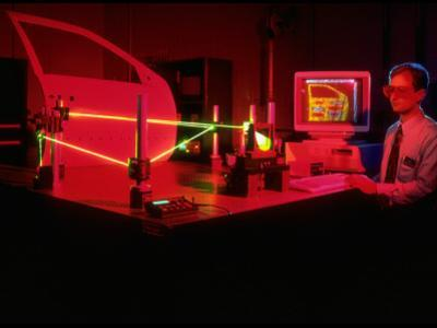 Engineer Using Laser Technology to Analyze Vehicle Vibrations at Ford Advanced Engineering Center
