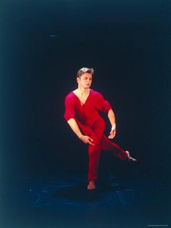 "Ex-American Ballet Director Mikhail Baryshnikov Practicing Moves from Merce Cunningham's ""Signals"""