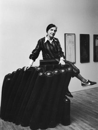 "Louise Bourgeois with Her Sculpture ""Femme Maison"" at the Museum of Modern Art"
