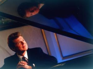 Pianist Van Cliburn Sitting at Steinway Piano at Plaza Hotel by Ted Thai