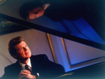 Pianist Van Cliburn Sitting at Steinway Piano at Plaza Hotel