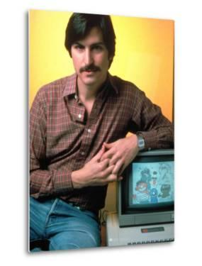 Portrait of Apple Co Founder Steve Jobs Posing with Apple Ii Computer by Ted Thai