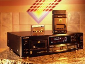 Sony's Dat Tape Deck, Walkman Portable Cassette Player and Blank Dat Cassette by Ted Thai