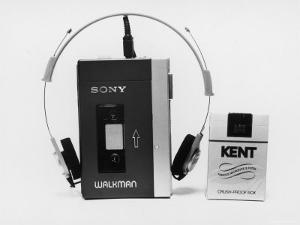 Sony Walkman Tape Player Photographed Next to a Pack of Kent Cigarettes For Size Comparison by Ted Thai