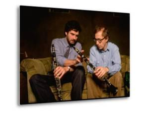 Time Magazine Sr. Editor Thomas Sancton Sitting with Woody Allen, Comparing Instruments by Ted Thai