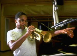 Trumpeter Wynton Marsalis Playing His Instrument, at Recording Session by Ted Thai