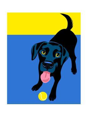 Illustration Of A Happy Playful Black Labrador Retriever by TeddyandMia