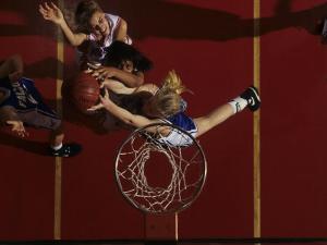 Teenage Girs Playing High School Basketball
