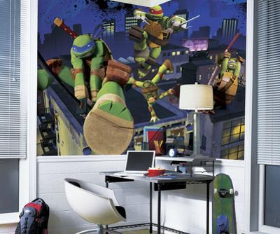 Teenage Mutant Ninja Turtles Cityscape Chair Rail Prepasted Mural