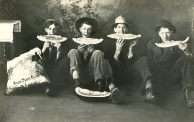 Teenagers Eating Watermelon