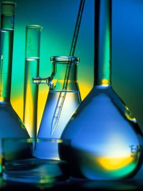 Selection of Glassware Used In Chemical Research by Tek Image
