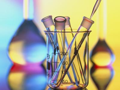 Test Tubes In Beaker with Pipette And Flasks by Tek Image