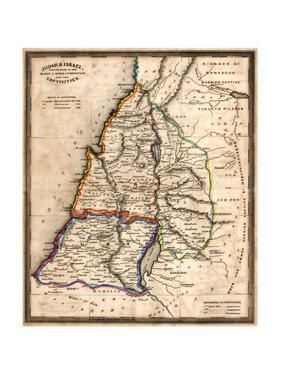 Antique Map Of Old Israel by Tektite