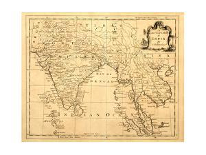 Old Map Of India Printed 1750 by Tektite