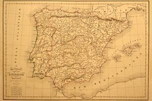 Old Map Of Spain And Portugal by Tektite