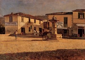 Square in Settignano by Telemaco Signorini