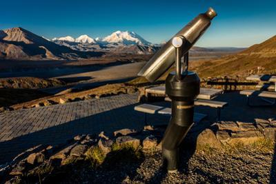 Telescope and Mount Denali in distance, Denali National Park, Alaska