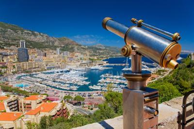 Telescope with view of Monte-Carlo in the Principality of Monaco