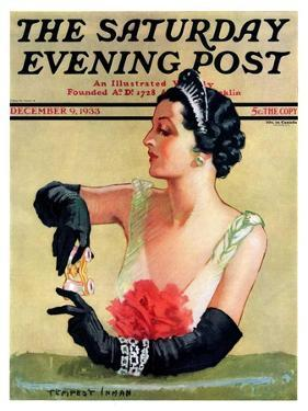 """""""At the Opera,"""" Saturday Evening Post Cover, December 9, 1933 by Tempest Inman"""