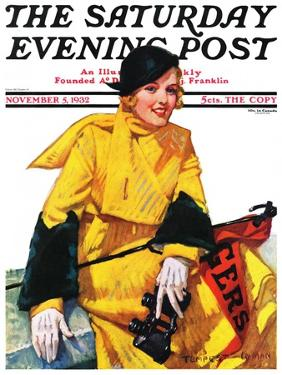 """""""Football Fan,"""" Saturday Evening Post Cover, November 5, 1932 by Tempest Inman"""