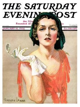 """""""Woman and Pince Nez,"""" Saturday Evening Post Cover, January 16, 1932 by Tempest Inman"""