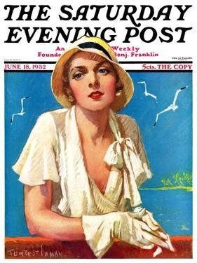 """""""Woman in White,"""" Saturday Evening Post Cover, June 18, 1932 by Tempest Inman"""