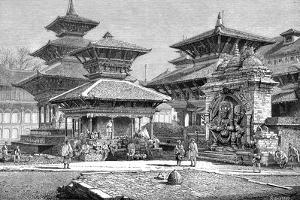 Temples Facing the Royal Place, Katmandu, Nepal, 1895