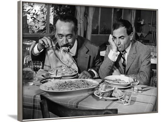 Tempo di Roma by Denys by La Patelliere with Charles Aznavour, 1963 (b/w photo)--Framed Photo