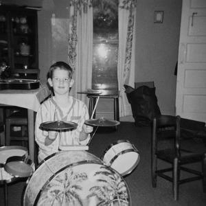 Ten Year Old Boy on Drum Set, Ca. 1969