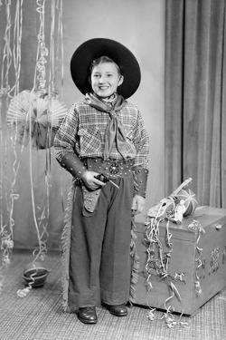 Ten-Year-Old Boy Poses in a Cowboy Outfit, Ca. 1951