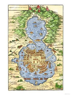 Tenochtitlan, Capital City of Aztec Mexico, an Island Connected by Causeways to Land, c.1520