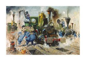 The Running Sheds of the Great Caerphilly and Vole-Tail Central Railway by Terence Cuneo