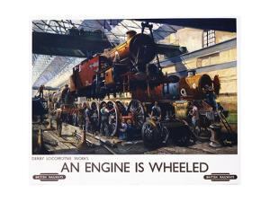 An Engine Is Wheeled Railroad Advertisement Poster by Terence Tenison Cuneo