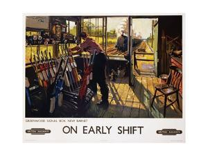 On Early Shift Railroad Advertisement Poster by Terence Tenison Cuneo